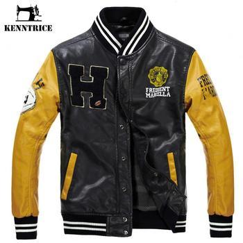 Kenntrice Baseball Leather Jacket College Jaqueta Couro Men's PU Leather Jacket Street Jacket High Quality Autumn Winter Coat