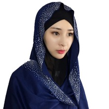 1 pc Cotton scarf long hijabs shawls Ladies muslim fashion wraps Soft with crystals Shinny Luxury Long scarves/scarf