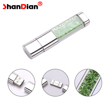 SHANDIAN Crystal Diamond box pendrive 8gb 16gb 32gb cap USB Flash Drive case memory stick  lovely gift for girls lover