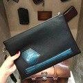 TERSE_2017 Новый стиль синий патч старинные клатч ручной лучшие качества натуральная кожа запястье петлю конверт мешок таможенной службы