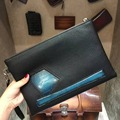 TERSE_2017 New style blue patch vintage clutch bag handmade top quality genuine leather wrist loop envelope bag custom service