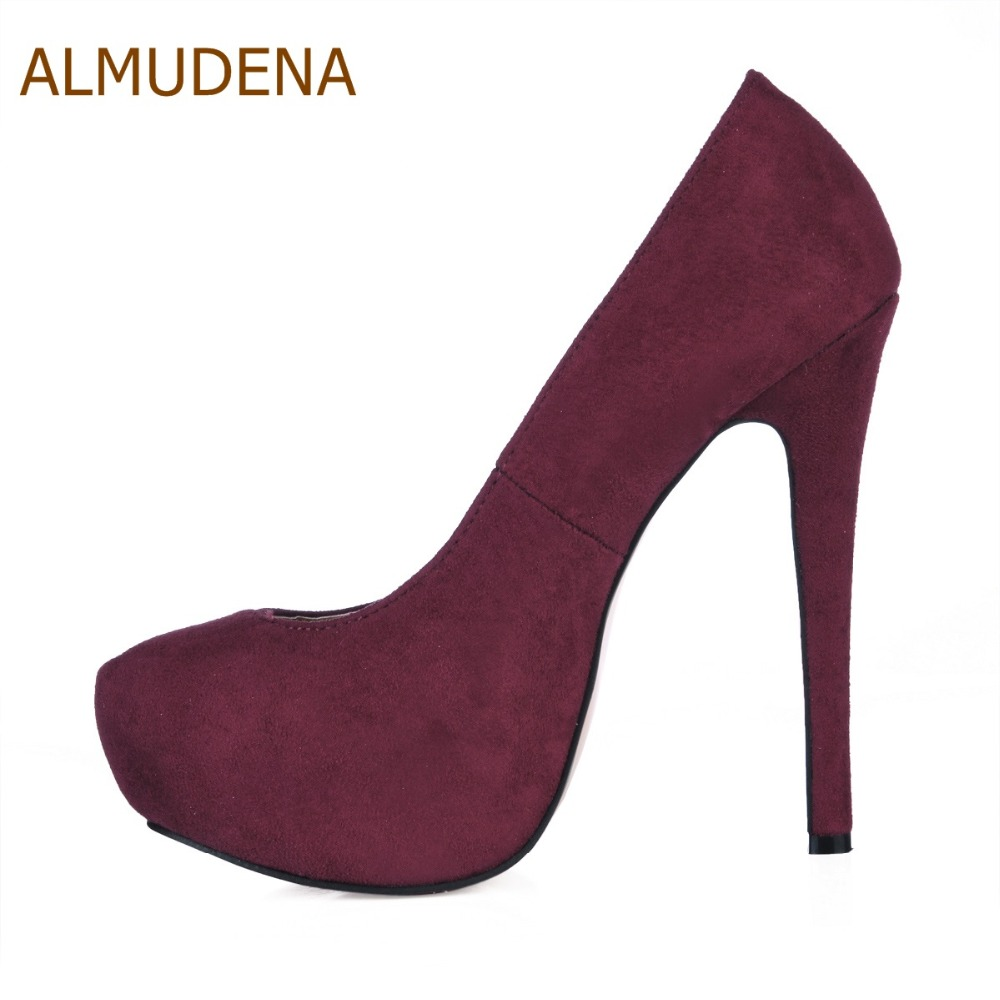 ALMUDENA New Arrival Wine Red Suede Platform Dress Pumps Thin High Heels Burgundy Blue Green Party Shoes Ultra High Heels