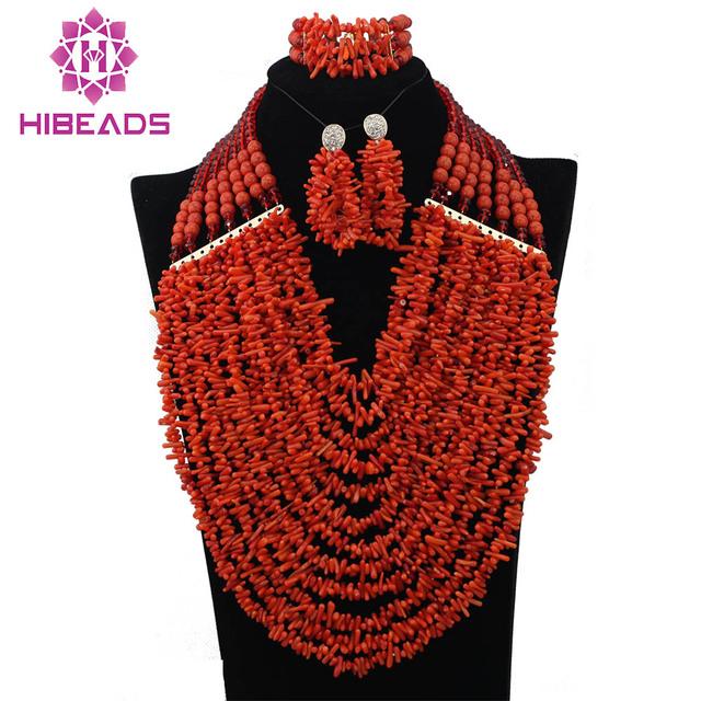 La Boda Africana de nigeria Coral Perlas de La Joyería de Cuentas de Coral Rojo Coral Beads Necklace Set Genuino Joyería Libre CNR326