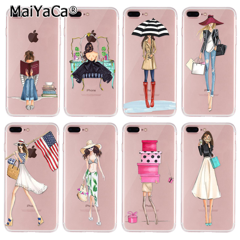 MaiYaCa Phone Accessories Case For iPhone 7 plus Sexy Girl Outing Travel Relax Dress Shopping Girl silicone cover for iphone 7p