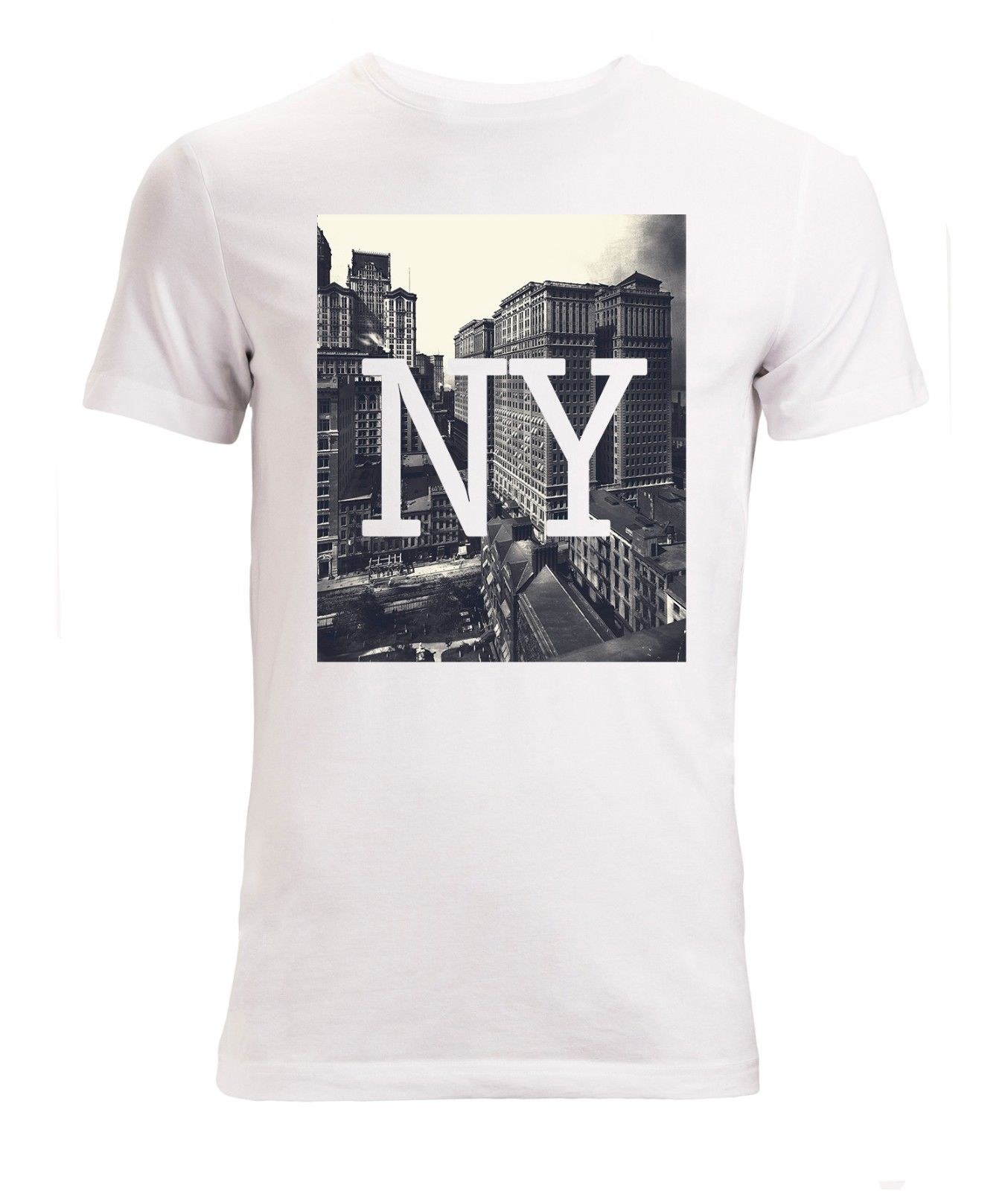 Gildan NY New York Skyscrapers Styled Art mens (womans available) t shirt white top