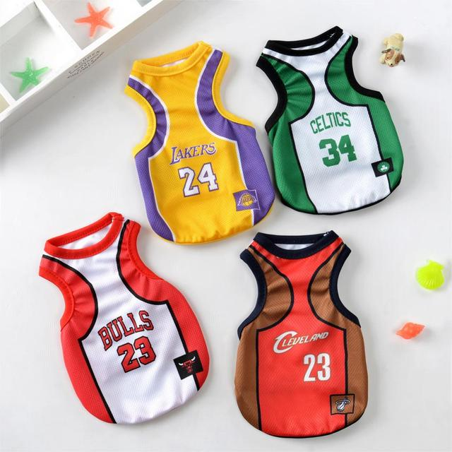 finest selection ae4d0 6c234 US $2.49 |Dog Clothes Bulls Jersey Lakers Jersey Celtics Cleveland  Basketball Jersey Pet Cats Clothes Dogs Vests Sportswear-in Dog Coats &  Jackets ...