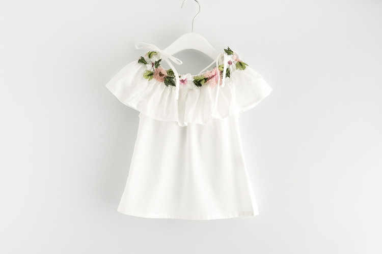 381baf8e1 ... Girls Summer Clothes Pure Color Flower Collor Kids Girl Tops Fashion  Outfit Children Off Shoulder Shirt ...