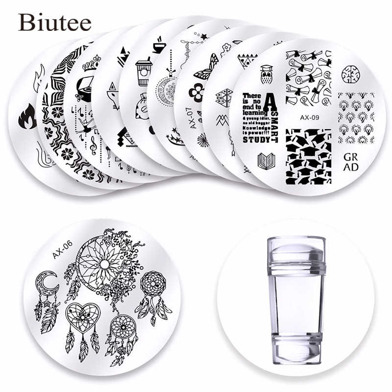 10Pc's Dreamcatcher Nail Stamping Plates Double Head Clear Silicone Stamper Scraper Storage Bag Flowers Animal Christmas Image