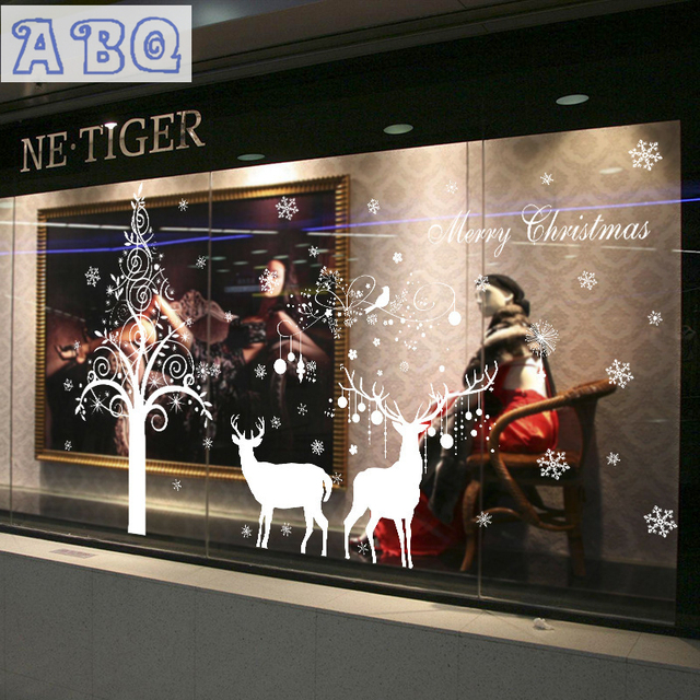 Christmas Tree Elk Snowman Christmas New Year Shop Window