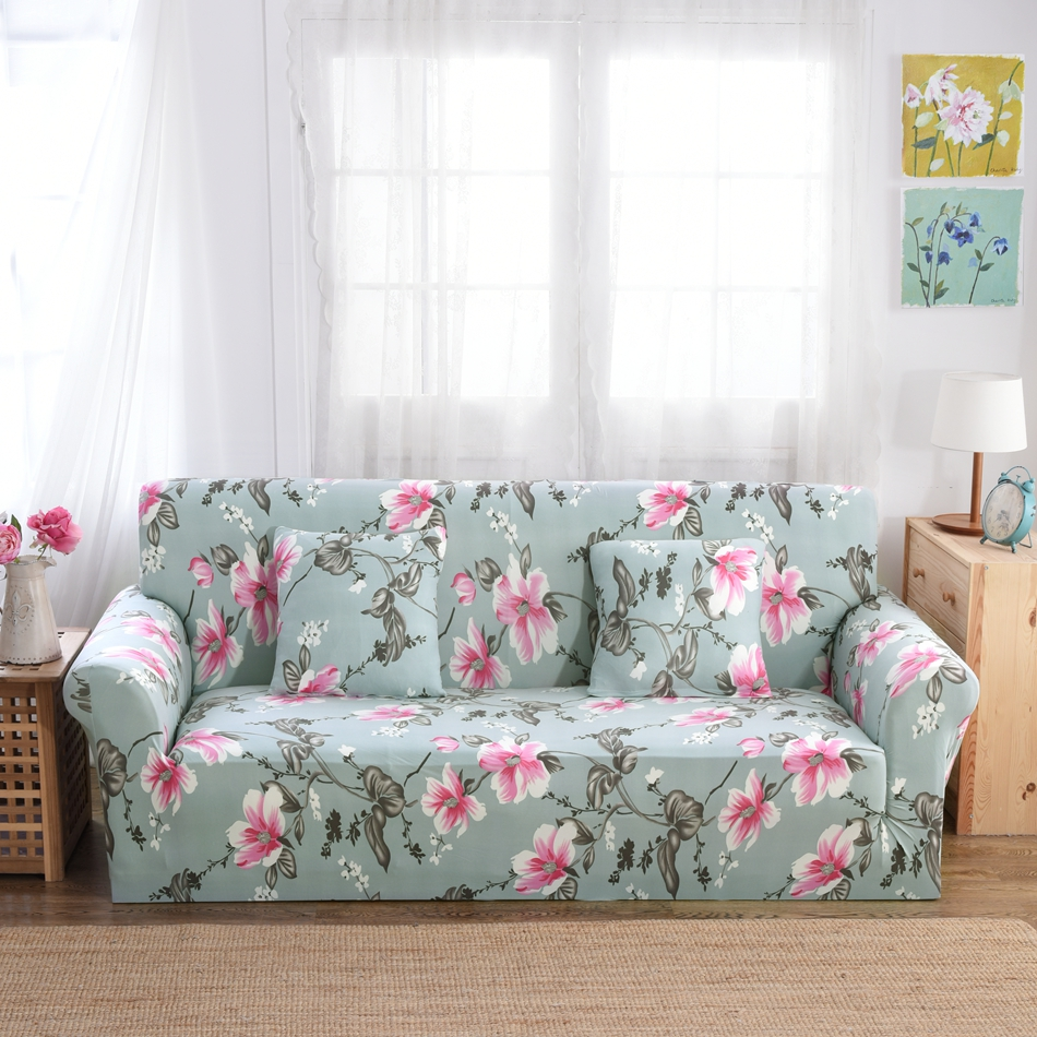 Flowers Corner Sofa Cover Green flexible Stretch Big Elasticity Couch cover Loveseat sofa Funiture Cover flower