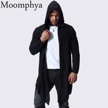 Moomphya élégant hip hop streetwear hommes coupe-vent à capuche trench manteau hommes Long style rayé hommes manteau veste casaco masculino