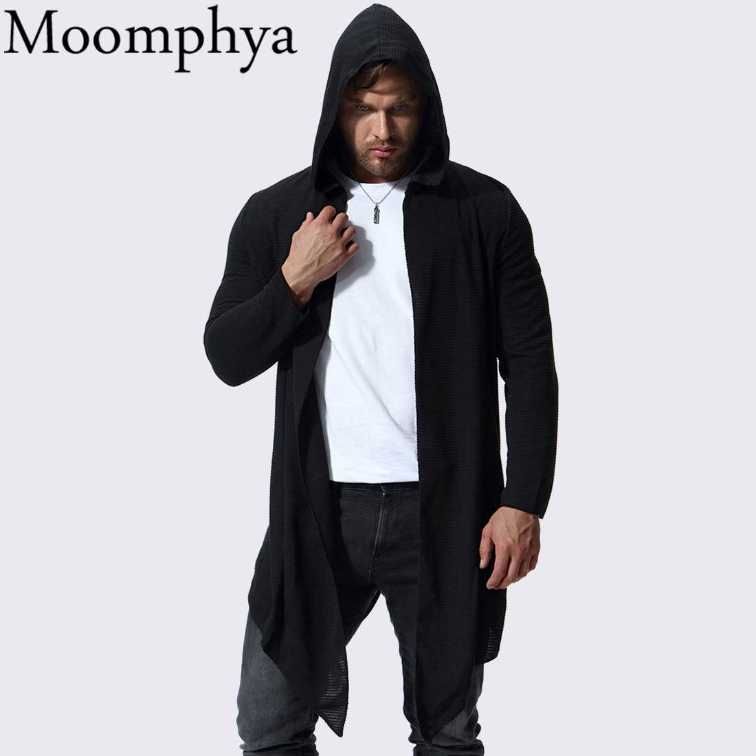 Moomphya Stylish hip hop streetwear men hooded Windbreaker   trench   coat men Long style striped men coat jacket casaco masculino