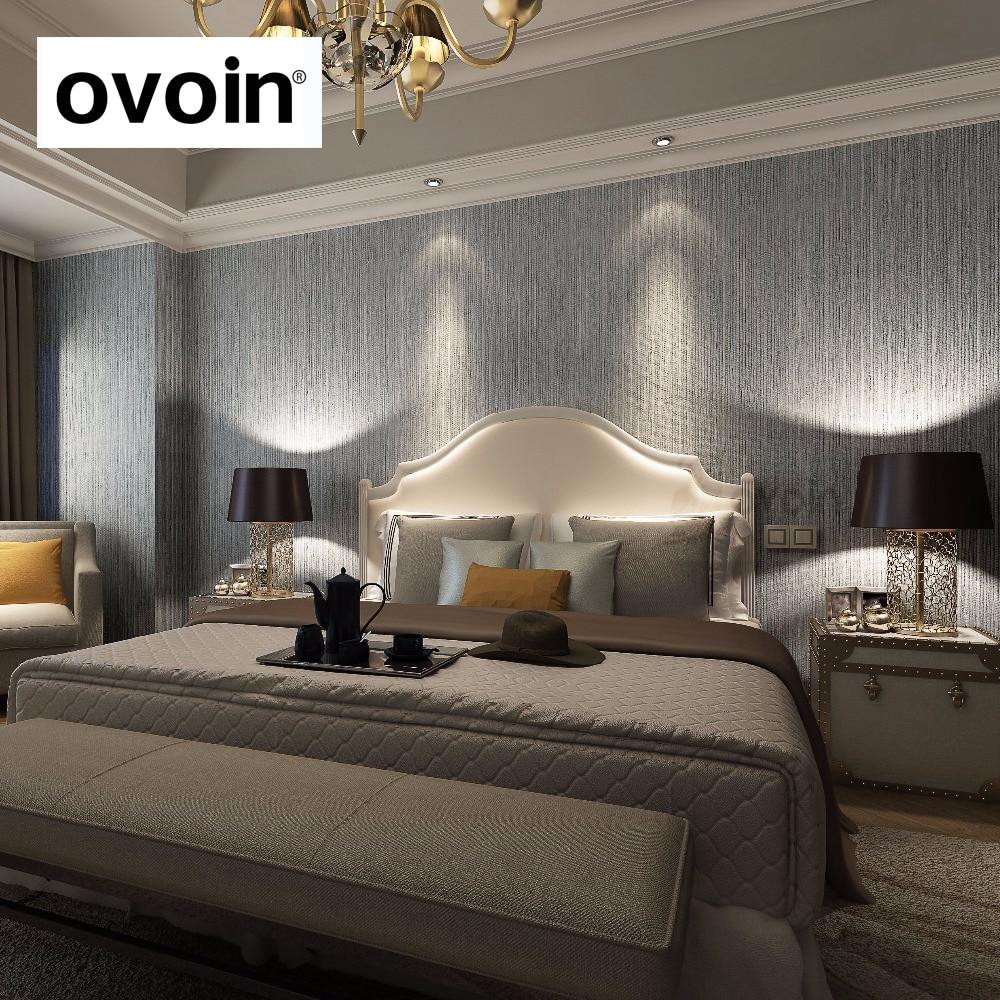 Silver Metallic Vinyl Grasscloth Wallpaper For Bedroom