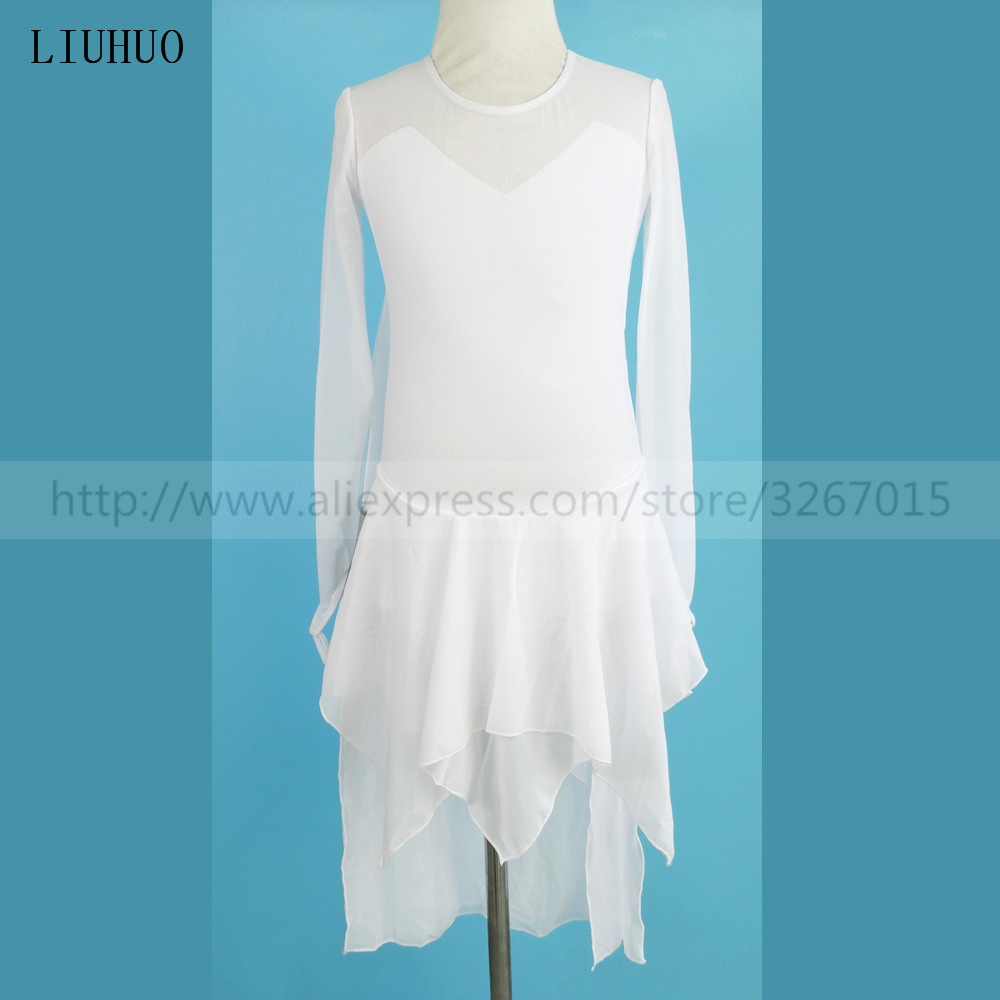 Figure Skating Dress Child Women's Girls' Ice Skating Dress In Kids White Round Neck Long Sleeve High Stretch Fabric Princess