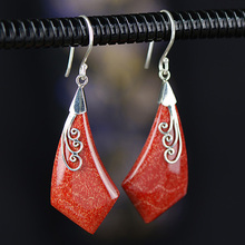 Earings Silver Sterling 925 Natural Gemstone Coral Classic Big Earrings For Women Ladies Fine