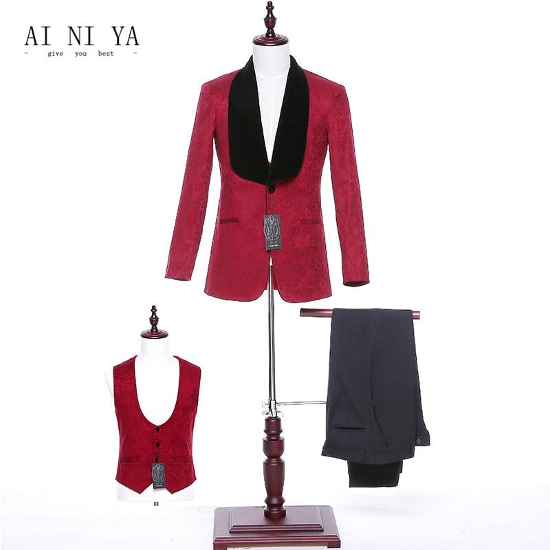 Jacket+Pants+Vest 2018 Design Women Business Suits Burgundy Office Uniform Style Ladies Formal Work 3 Piece Female Trouser Suits