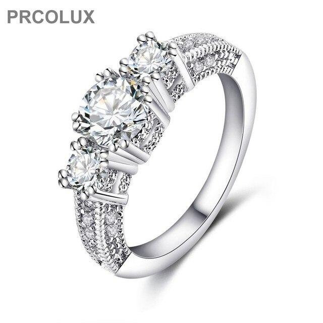 prcolux elegant wedding rings for women white cz geomitric 925 sterling silver engagement ring female finger - Elegant Wedding Rings