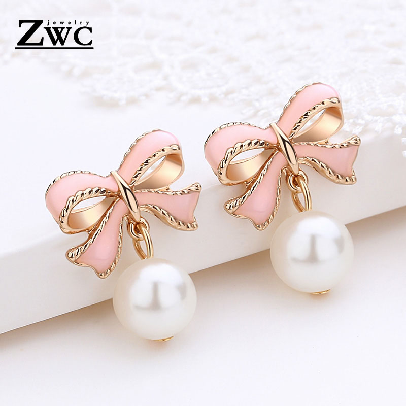 ZWC New Hot Fashion Cute Pink Bow Stud Earrings For Women Girls Party Upscale Imitation