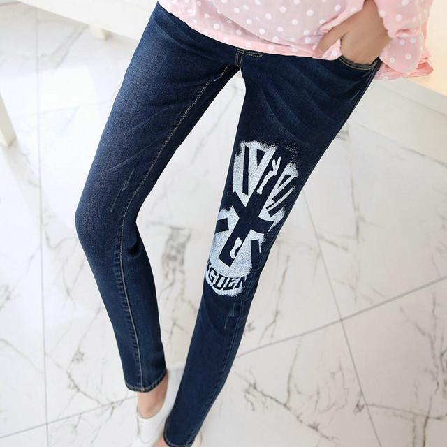 Nova Moda de Cintura Elástica de Algodão Maternidade calças de Brim Calças Lápis Roupa Gravidez Mulheres Grávidas Legging Primavera Outono M-XXL 6209