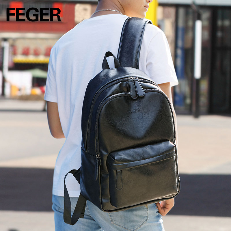 3364199cd New design FEGER minimalism urban man double shoulder backpack pu men  rucksack for daily mochila -in Backpacks from Luggage & Bags on  Aliexpress.com ...