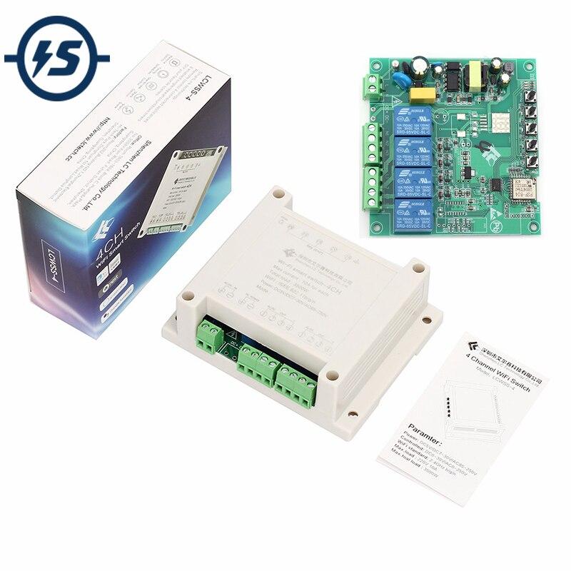 Беспроводной контроллер переменного тока 220 В 4CH, WIFI релейный модуль, встроенный/самоблокирующийся/блокирующий приложение, умный переключатель для DIY умного дома с корпусом|Интегральные схемы|   | АлиЭкспресс