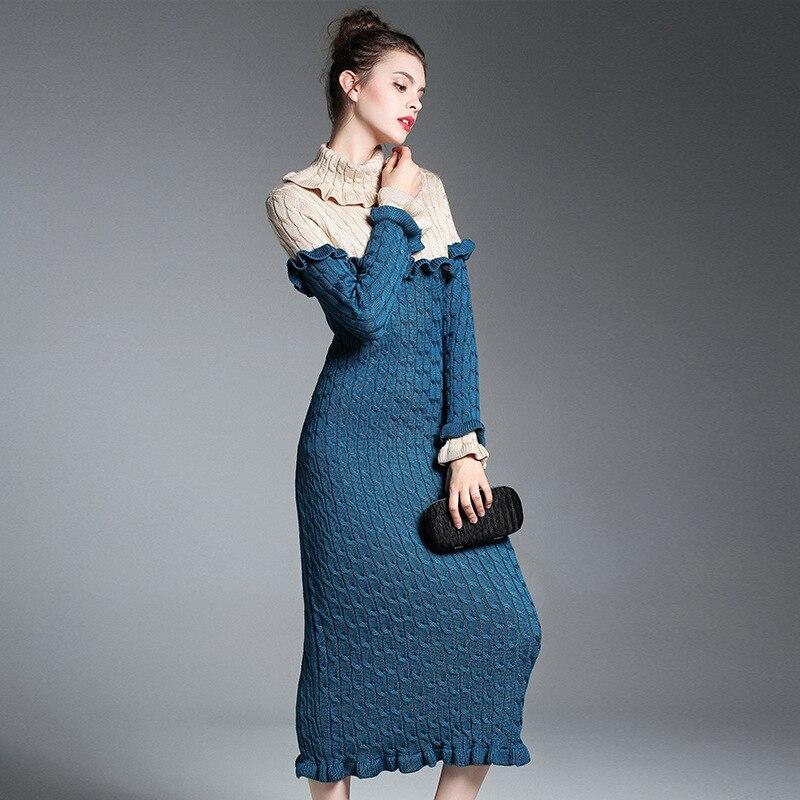Wool Sweater Dress 2017 Long Sleeve Maxi Turtleneck Sexy Women Fall Winter Designer Autumn Club Party Sweaters Vintage Dresses