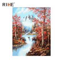 RIHE Snow Mountain Diy Painting By Numbers River Tree Oil On Canvas Cuadros Decoracion Acrylic Wall Picture For Room