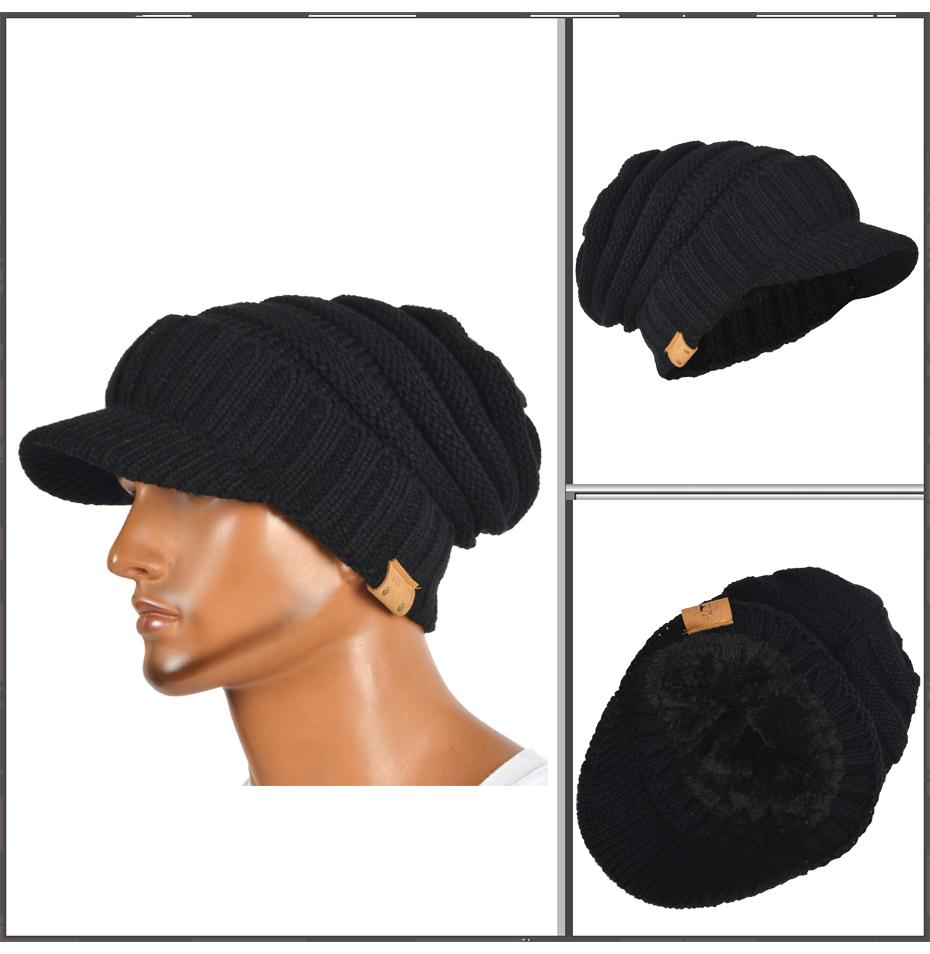 1e2488aed3584 HISSHE Mens Winter Newsboy Cap Retro Knit Visor Newsboy Faux Fur ...