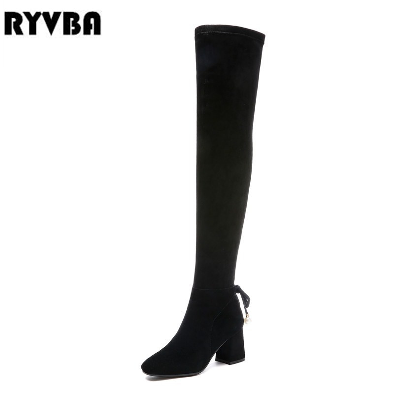 RYVBA woman suede genuine leather thigh high boots women autumn winter over the knee boots sexy square high heels stretch shoesRYVBA woman suede genuine leather thigh high boots women autumn winter over the knee boots sexy square high heels stretch shoes