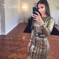 IN STOCK!! Free Shipping! 2017 New Luxe Top Fashion Gold Beaded Embellished with Belt Club Celebrity Party Wholesale Women Dress