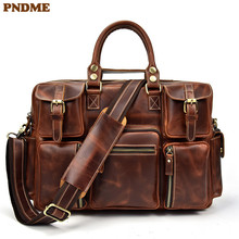 PNDME retro high quality genuine leather men's briefcase large capacity laptop bag cowhide multi pocket travel messenger bags hot sale new arrive brand high quality multi function oxford bag 17 3 laptop bags waterproof briefcase large capacity bags b34