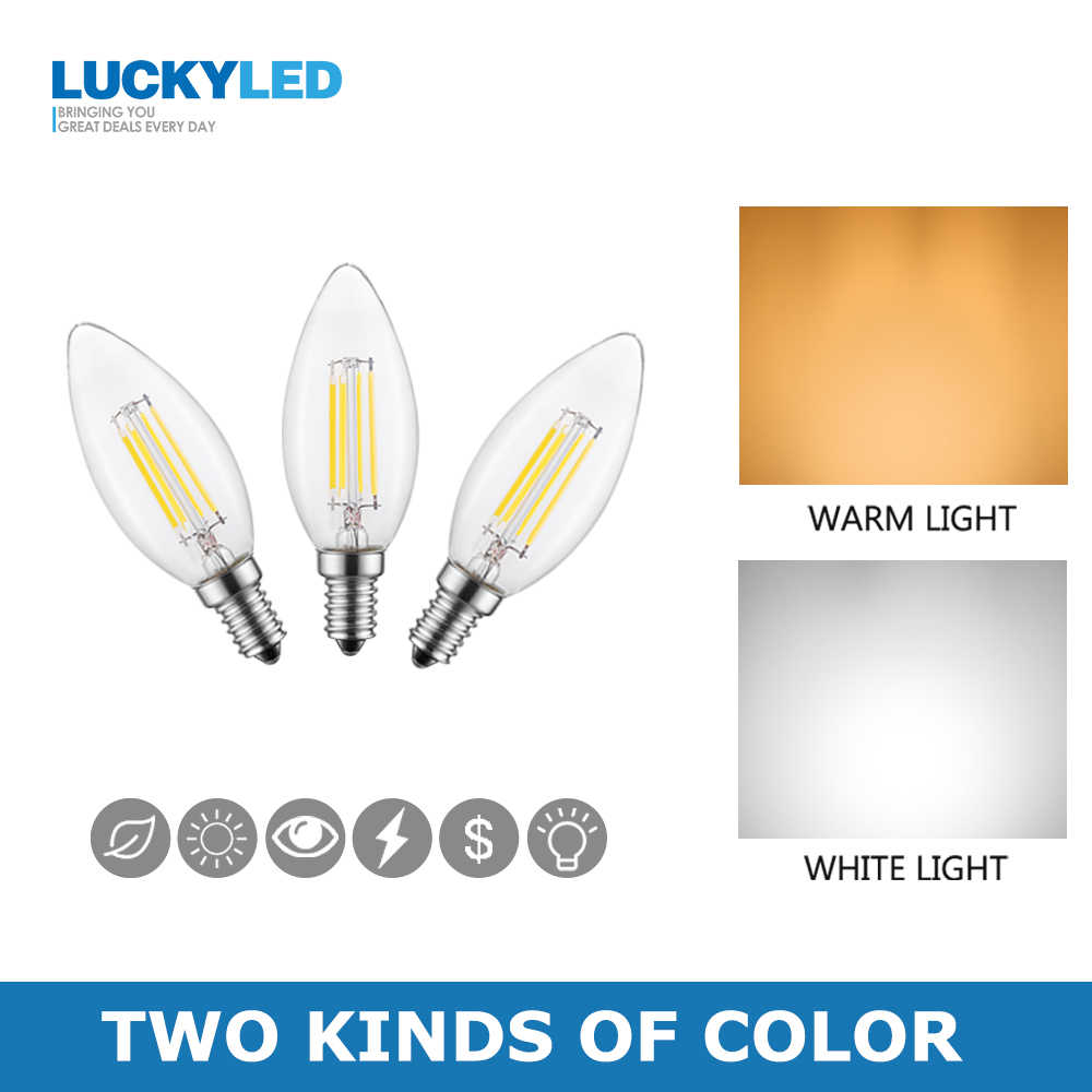 LUCKYLED E14 Led Candle Bulb Light 2W 4W 6W 220V 240V Dimmable Vintage Filament Lamp E12 110V Edison Bulbs For Indoor Lighting