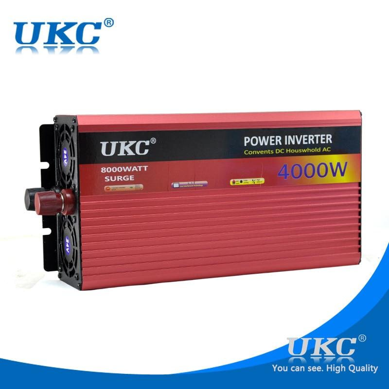 CE UKC DC 24V To AC 220V 4000W Car Power Inverter Voltage Converter With Cigarette lighter Transformer USB Charger Adapter 3 sockets usb car cigarette lighter power adapter charger black red dc 12 24v
