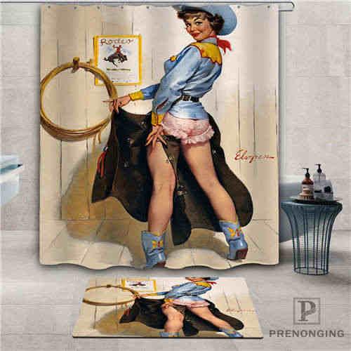 Custom pin - up girl (1) ผ้าม่านกันน้ำพรมเช็ดเท้าอาบน้ำผ้าโพลีเอสเตอร์หลายขนาด #2019-1-05-73