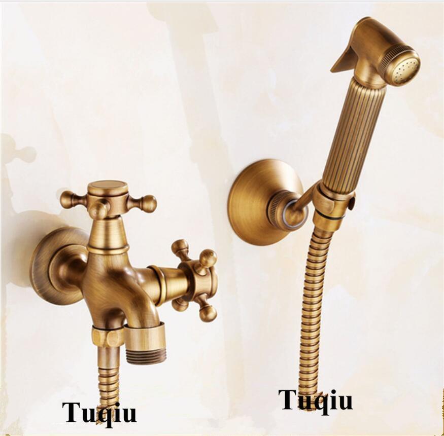 купить Antique Bathroom Bidet faucet toilet bidet shower set Portable bidet spray with brass shower holder and 1.5m hose handheld bidet по цене 3241.44 рублей