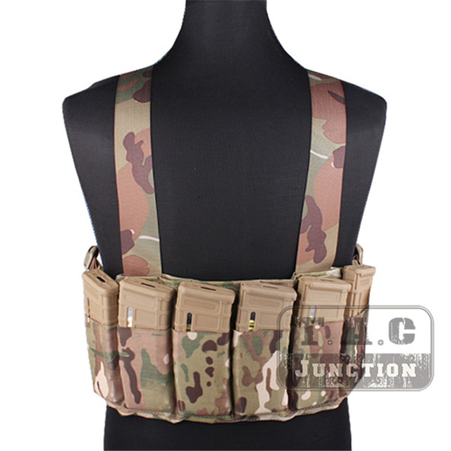 Emerson Tactical Combat Adjustable High Speed Chest Rig Coyote Brown Carrier Vest with Six Pack M4 M16 Magazine Mag Pouches-in Hunting Vests from Sports & Entertainment    1