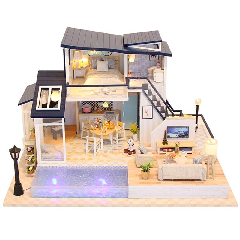 CUTEBEE bricolage maison de poupée en bois maisons de poupée Miniature maison de poupée Kit de meubles jouets pour enfants cadeau de noël 13849