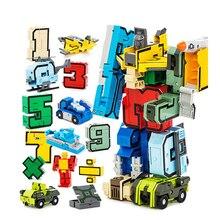 15 pçs blocos criativos de montagem blocos educativos figura ação transformação número robô deformação robô brinquedo para crianças