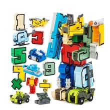 15Pcs Creatieve Blokken Assembleren Educatief Blokken Action Figure Transformatie Nummer Robot Vervorming Robot Speelgoed Voor Kinderen