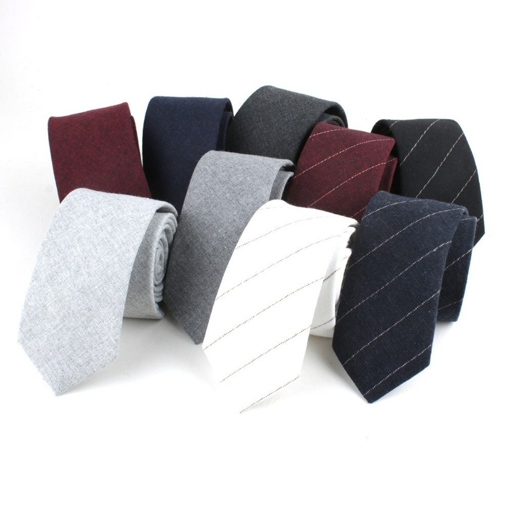 TagerWilen Neck Ties For Men 6cm Skinny Cotton Ties Black Blue Solid Necktie Striped Narrow Black Gravata Business T-240