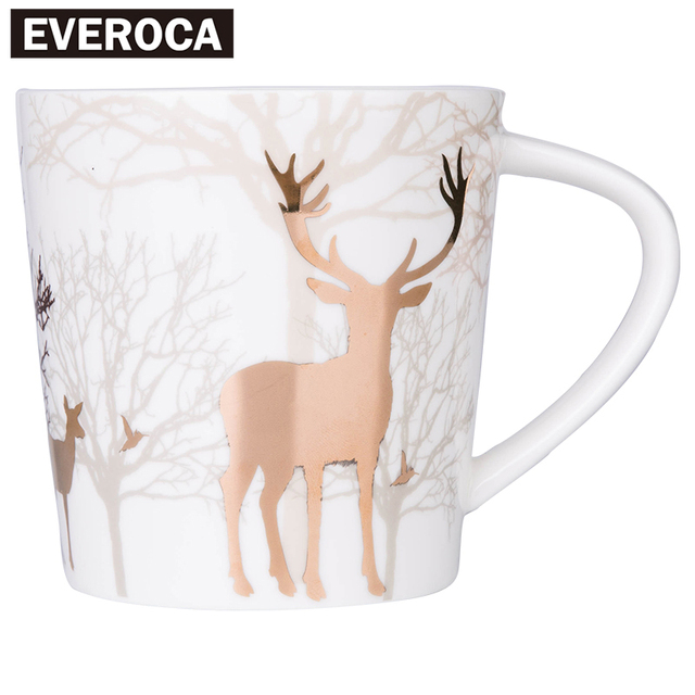 Gold Plated Elk Forest Mug Matte Light Ceramic Milk Mug Wood Cover Coffee Mug