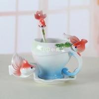 3D Goldfish Enamel Coffee Mug Cup Porcelain Tea Milk Copo Set Caneca Criativa Ceramic European Bone China Drinkware
