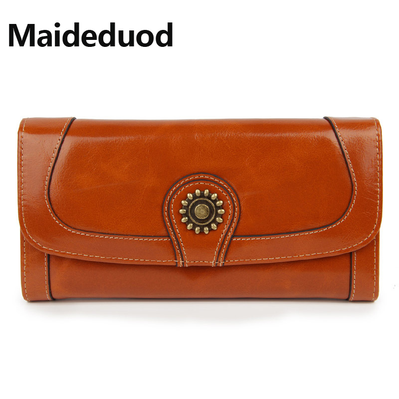 Maideduod High Capacity Fashion Women Wallets Long Brand Design 2018 Retro Genuine Leather Wallet Clutch Coin Purse Lady Bag baellerry brand new fashion women wallet leather wallets women wholesale lady purse high capacity clutch bag women gift 7 colors