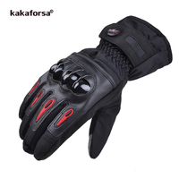 Kakaforsa Men Leather Skiing Gloves Touch Screen Warm Thick Ski Gloves Outdoor Waterproof Motorcycle Riding Snow