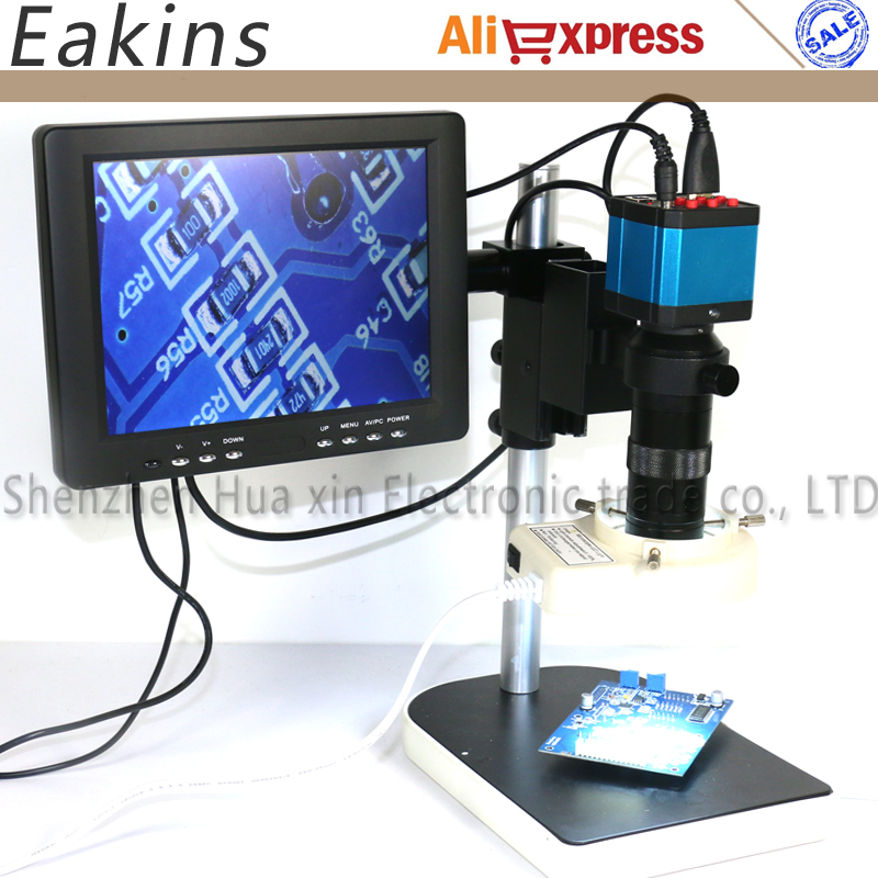 Full Set 14MP Industrial Microscope Camera HDMI USB Outputs with 100X C-mount Lens +8 HD LCD Monitor + 56 LED Light Microscopes