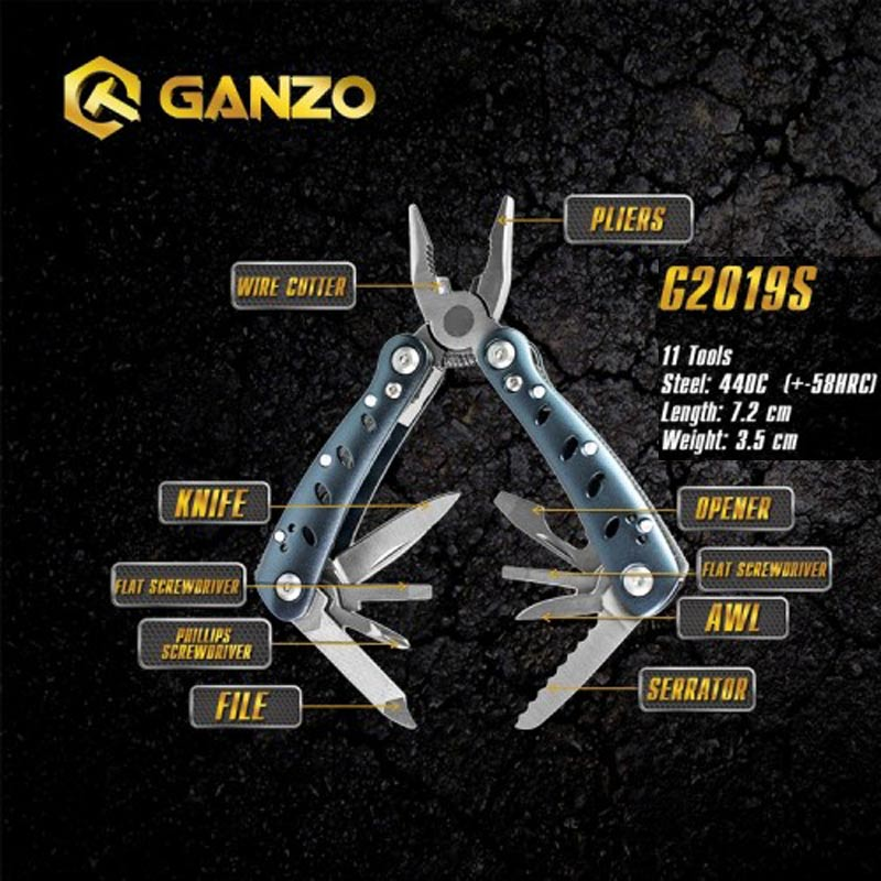 Ganzo G2019-S Multi Pliers 11 Tools In One Hand Tool Set Screwdriver Kit Portable Folding Knife Stainless Steel Plier