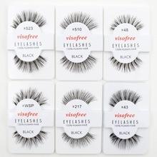 12 คู่ Visofree ขนตานุ่ม False Human Hair ขนตาปลอมกาว Glamour Fake Eye Lashes แต่งหน้า