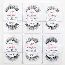 12 pairs Visofree Lashes Soft False Human Hair Eyelashes Adhesives Glamour Fake Eye Lashes Makeup