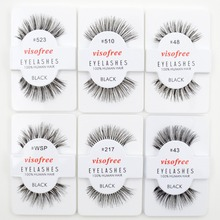 12 pairs Visofree Lashes Yumuşak Yanlış Insan Saç Kirpik Yapıştırıcılar Glamour Sahte Göz Lashes Makyaj
