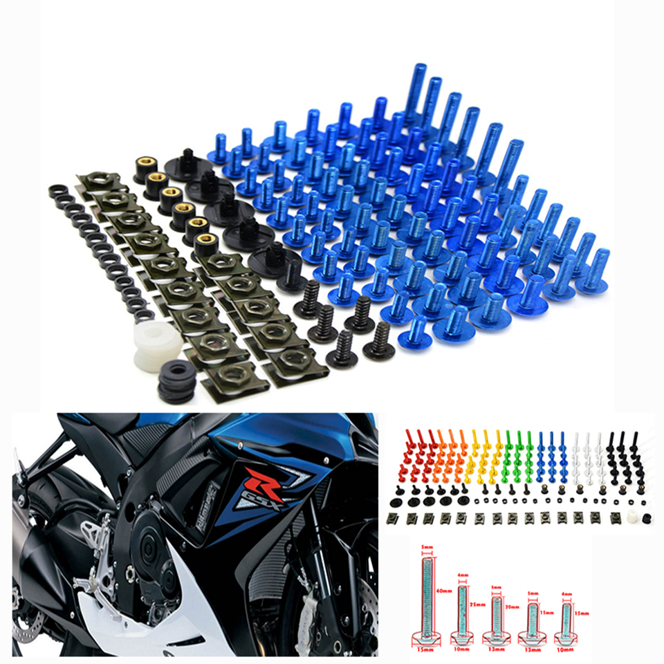 76 PCS Universal Motorcycle Fairing Body Bolts Spire Screw Spring Nuts FOR SUZUKI GSR 125 400 600 650 750 1000 SV SV650 SV1000 new universal 76 pcs set screw bolts nuts for disc brake rotors mountain bike